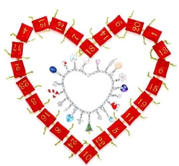 Echtschmuck Adventskalender Damen-Schmuckset Geschenkideen für die Frau oder Freundin mit 24 Schmuckstücken aus 925 Sterling Silber Emaille Kristall mehrfarbig - 4050878527280 - 3