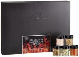 Hallingers Adventskalender Grillkalender BBQ 24 Männersache ADVENT, black Set/Mix 24x Miniglas in Deluxe-Box, 1er Pack (1 x 385 g) -