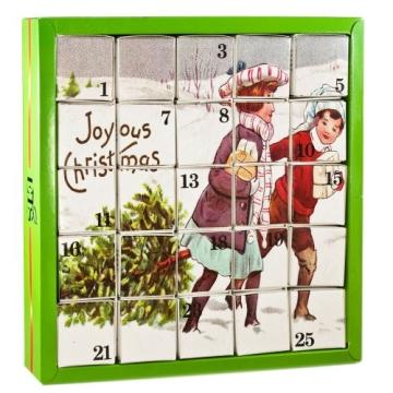 Nostalgie Tee-Adventskalender, 25 Würfel mit BIO-Weihnachtstees in hochwertigen Pyramiden-Teebeutel - 1