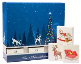 """Schubladen Tee-Adventskalender - mit 24 koffeinfreien Tees in Pyramidenbeuteln, mit Honigsticks und kunstvollen """"Baumschmuck-Schachteln"""" - 1"""