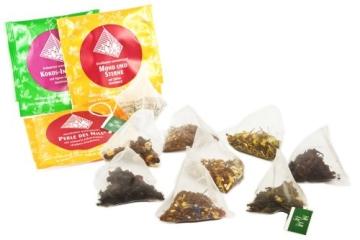 Schubladen Tee-Adventskalender - mit 24 koffeinfreien Tees in Pyramidenbeuteln, mit Honigsticks und kunstvollen